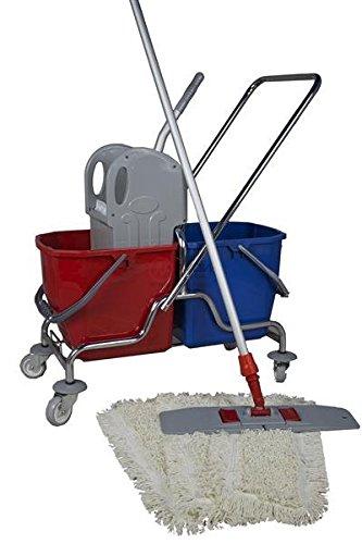 CleanSV® Wischset 50 cm - Putzwagen Chrom/Reinigungswagen mit Presse, CleanSV® Mop Set: bestehend...