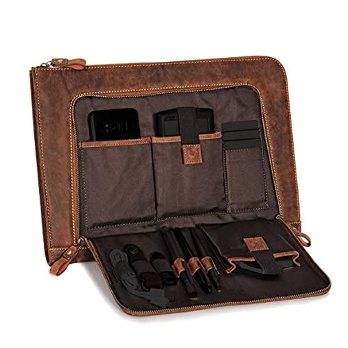 DONBOLSO® Notebook Sleeve London braun - 13,3 Zoll DIN A4 Laptop und Netbook Aktentasche aus Leder...