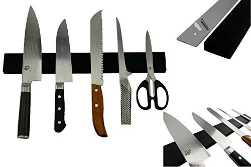 Exclusive Chefs Edelstahl Magnetleiste mit Silikon Kratz Schutz für Messer extra Stark 40cm schwarz...