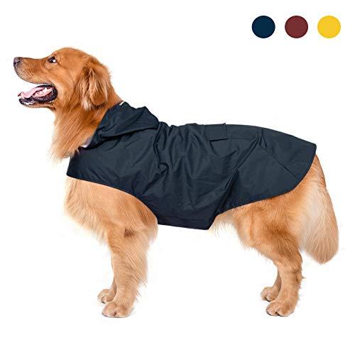 Zellar Hunderegenmantel mit Kapuze & Kragenloch & sicheren reflektierenden Streifen, ultraleichte...