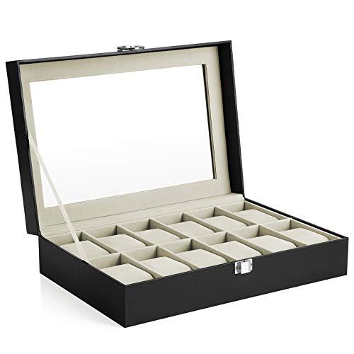 SONGMICS Uhrenbox mit 12 Fächern, abschließbarer Uhrenkasten mit Glasdeckel, Uhrenkoffer mit...