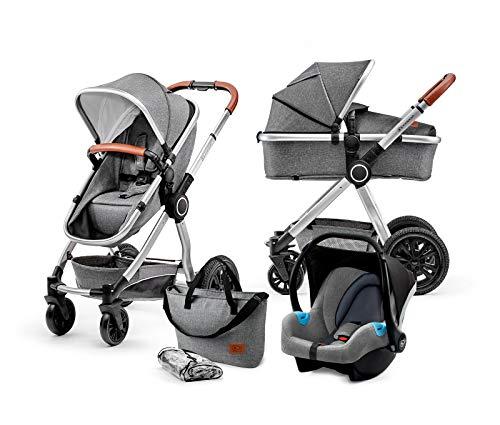 Kinderkraft Kinderwagen 3 in 1 VEO, Kinderwagenset, Kombikinderwagen, Buggy, Autositz, Zubehör,...