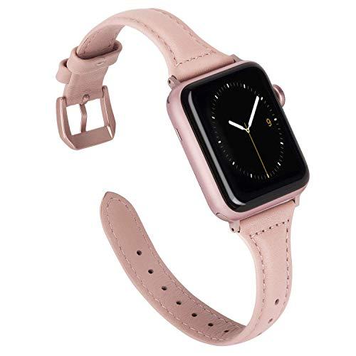 Wearlizer für Apple Watch Armband 42mm Leder, Echtleder Schlank für iWatch Straps Ersatz...
