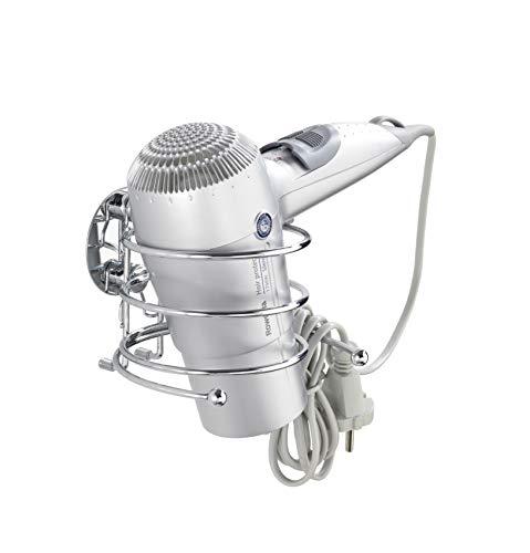WENKO Turbo-Loc® Haartrocknerhalter - Befestigen ohne bohren, Kabelhalter, Stahl, 14 x 7.5 x 11.5...