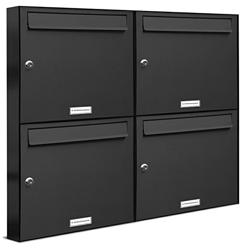 AL Briefkastensysteme 4er Briefkastenanlage Anthrazit Grau RAL 7016, Premium Briefkasten DIN A4, 4...