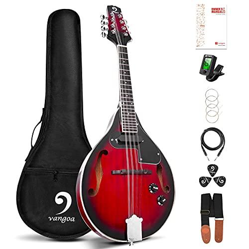 Vangoa A-Stil Mandoline Musikinstrument Mahagoni Akustisches Elektrisches Mandoline mit 8 Saiten...