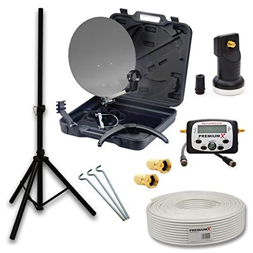 PremiumX HD Camping SAT Anlage im Transport Koffer Schüssel mit Digital Single LNB + 10m Koax TV...