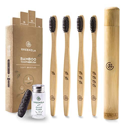 Greenzla Bambus Zahnbürsten-Set (4er-Pack) mit Reisezahnbürstenetui & Zahnseide aus Kohle in...