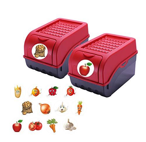 Rival 2 x Vorratsdose für Kartoffeln, Gemüse, Obst, Zwiebeln, Aufbewahrungsbox, Kunststoff,...