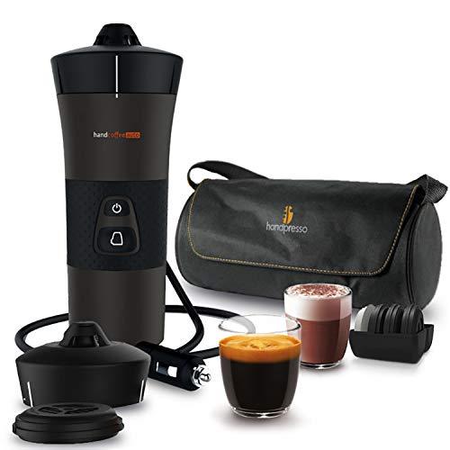 Handpresso 48312A Handcoffee Auto Reiseset 12V schwarz - tragbare Espressomaschine für gemahlenen...