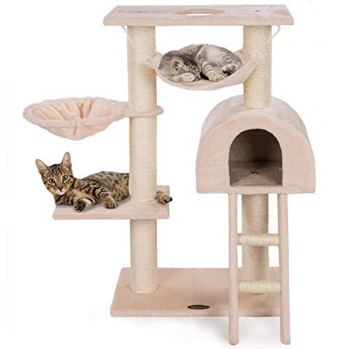 Happypet® Kratzbaum für Katzen klein 100 cm hoch, CAT018, platzsparender Kletterbaum Katzenbaum,...