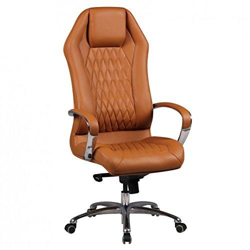 FineBuy Bürostuhl Monterey Echt-Leder Caramel Schreibtischstuhl XXL Polsterung Design Chefsessel...
