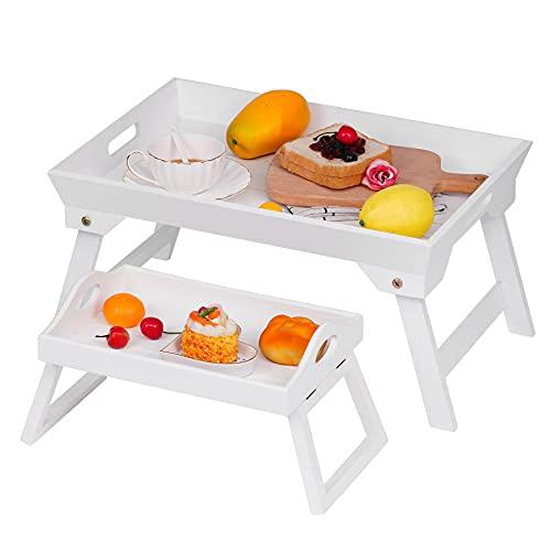 Optyuwah 2er Betttablett klappbar und sofatablett Armlehnen aus Holz Betttisch als Frühstücksbrett...