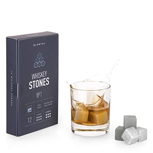 Blumtal Whisky Steine, Whiskey Kühlwürfel - 12er-Set Whiskeysteine, Geschenkset Männer,...