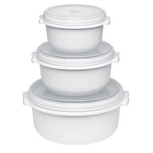 Emsa 459061200 3-teiliges Mikrowellentopf-Set, 0,5 Liter, 1 Liter, 1,5 Liter, Kunststoff, Weiß,...