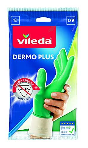 Vileda Dermo Plus/Sanft & Schonend Gummihandschuhe, latexfrei, idealer Tragekomfort, Größe L, 1...