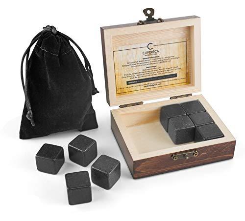 Cumbreca Whisky Steine, Geschenkset aus 9 Granit Eis-Steinen, Kühlung von Ihrem Whisky, Wein und...