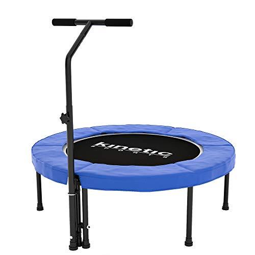 Kinetic Sports Fitness Trampolin Indoor, Durchmesser 100cm, rund höhenverstellbarer Haltegriff,...