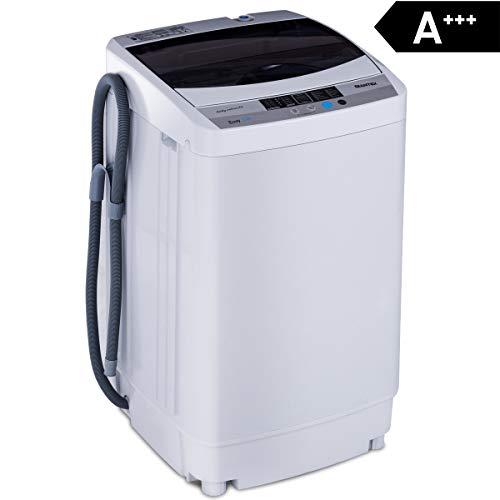 COSTWAY Waschmaschine, Waschvollautomat, Toplader, Mini Waschmaschine mit Pump, Schleuder, Display /...