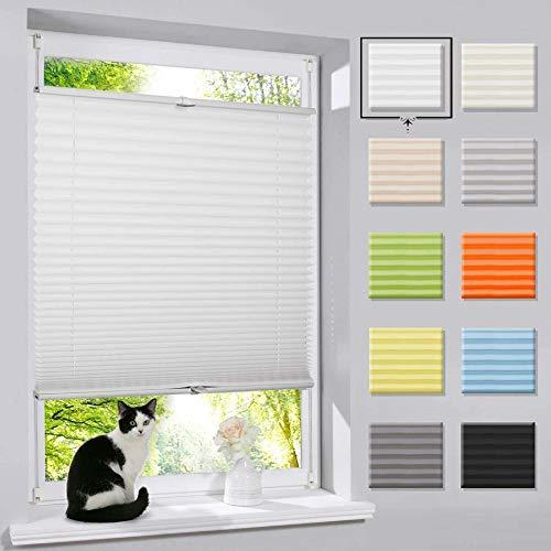 Plissee Klemmfix Faltrollo ohne Bohren Jalousie (Weiß,90x130cm) Rollo Sichtschutz und Sonnenschutz...