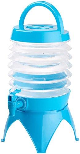PEARL Wasserspender faltbar: Faltbares Fässchen, Auslaufhahn, Ständer, 3,5 Liter, blau/transparent...