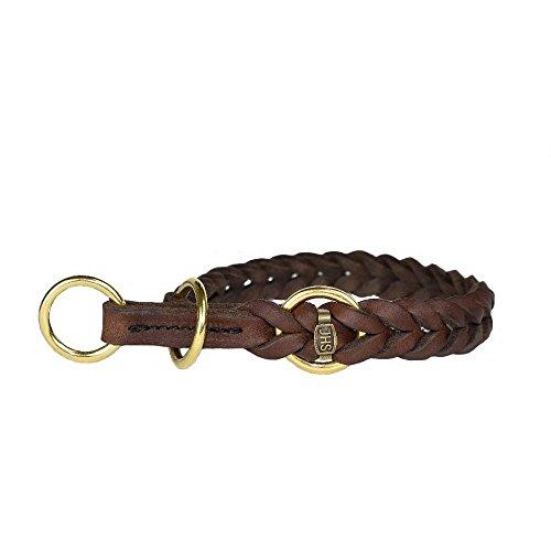 JHS Fettleder geflochten - Hunde Halsband Führleine Schauleine Dressurhalsung (45 cm, Halsband mit...