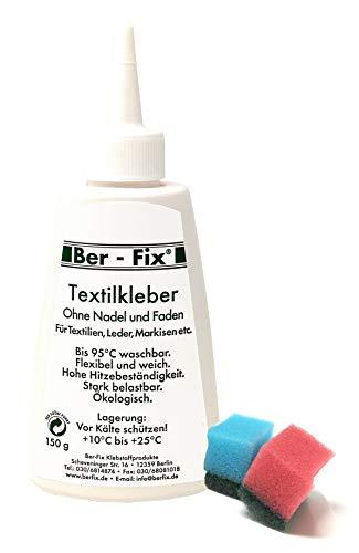 Ber-Fix® Textilkleber waschmaschinenfest transparent -150g Textilkleber wasserfest ist ein extra...