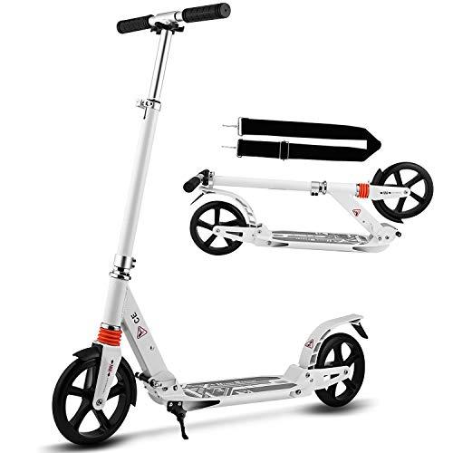 Hikole City Scooter Tretroller Kickscooter Klappbar und Höhenverstellbar mit Big Wheel für...