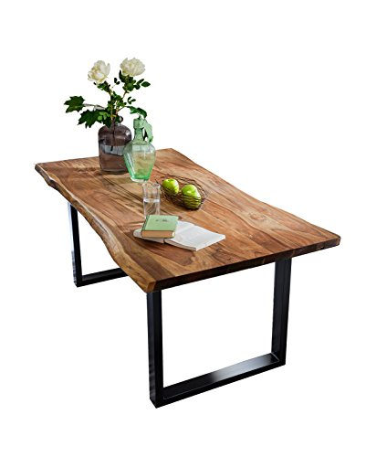 SAM Esszimmertisch mit Baumkante, massives Akazienholz, Nussbaumfarben / schwarzes Gestell, 160 x 85...
