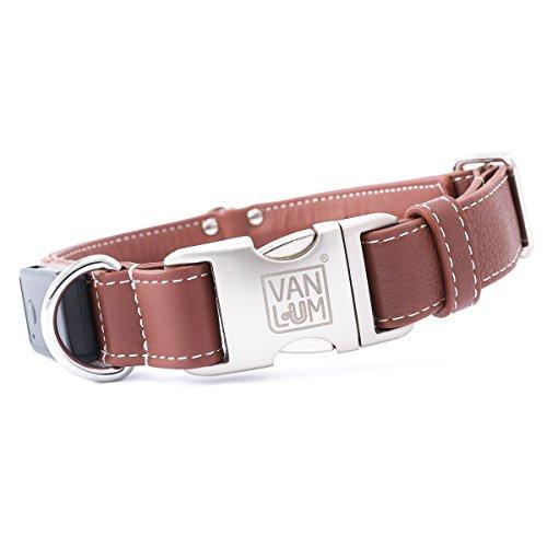 VanLum beleuchtetes Hundehalsband mit LED, Echtleder, aufladbar Mini-USB in Braun, LED Rot XL...