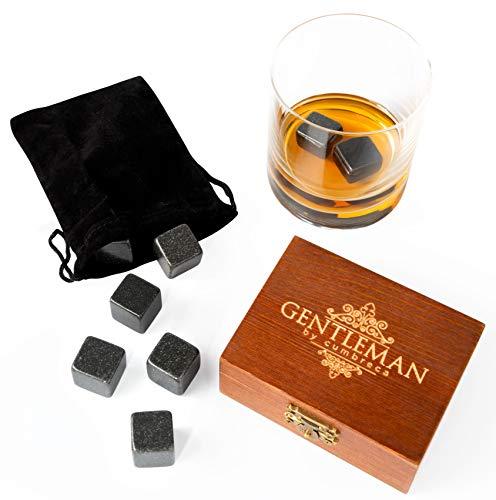 Cumbreca Whisky Steine Geschenkset aus Granit in hochwertiger Holzbox | Whiskey Kühlsteine Geschenk...
