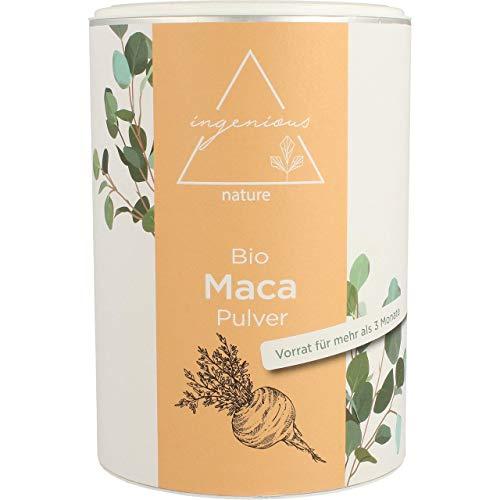 ingenious nature® Laborgeprüftes Bio Maca Pulver 500g - von der schwarzen Maca Wurzel - 100 %...