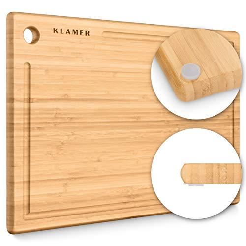 Schneidebrett Bambus rutschfest mit Saftrille – Premium Holz-Brett, 45x30x2cm, leicht reinigbar,...