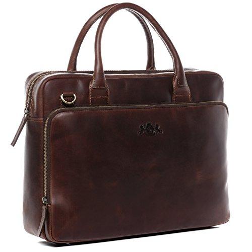 SID & VAIN Laptoptasche echt Leder Ryan XL groß Businesstasche Umhängetasche Aktentasche...