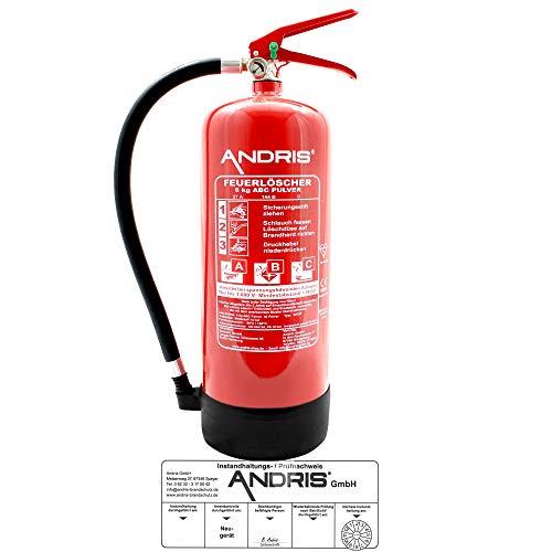 Feuerlöscher 6kg ABC Pulverlöscher mit Manometer EN 3 inkl. ANDRIS® Prüfnachweis mit...