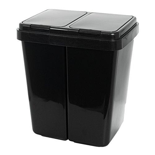 Grizzly Doppelmülleimer 2 x 25l Recycling - Abfallbehälter Mit 2-Fach Deckel - Anthrazit Metallic