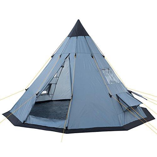 CampFeuer - Tipi Zelt (Teepee), 365 x 365 x 250 cm, grau, Indianerzelt, Camping Pyramidenzelt,