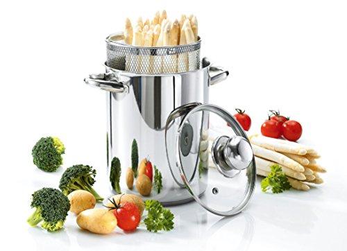 Culinario Spargeltopf/Gemüsetopf aus Edelstahl, Ø 16 x 21 cm, mit Glasdeckel und Einsatzkorb,...