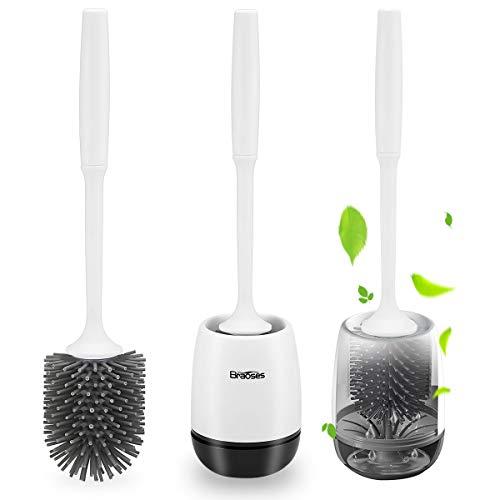 Braoses WC Bürste mit Halter Silikon Toilettenbürste Set Langer Stiel klobürste und schnell...