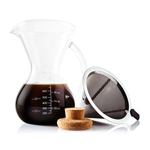 Apace Living SultryBrew Pour Over Kaffeebereiter inkl. Kaffeeschaufel und Korkdeckel Eleganter...