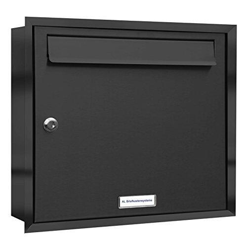 AL Briefkastensysteme, 1er Unterputzbriefkasten in Anthrazit Grau RAL 7016, Briefkastenanlage 1...