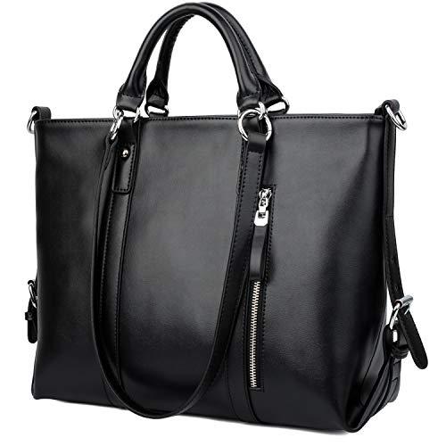 Ausverkauf-Yaluxe Damen echtes Leder Laptop Arbeit Shopper Shopping Schultertasche schwarz