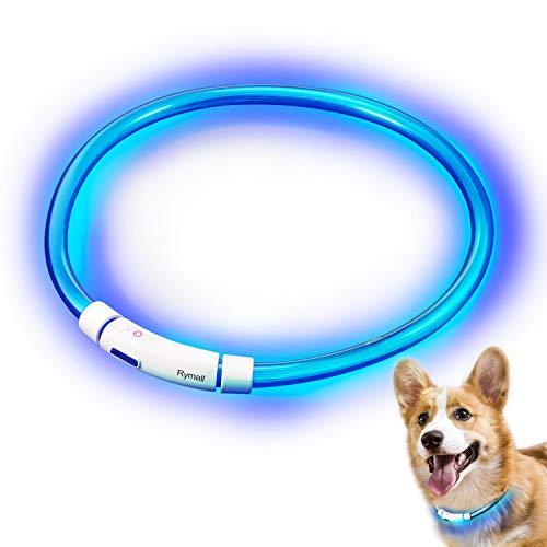 Rymall Hunde Leuchthalsband LED, Hundehalsband Leuchtband Leuchtschlauch Blink Hundehalsband 60cm,...