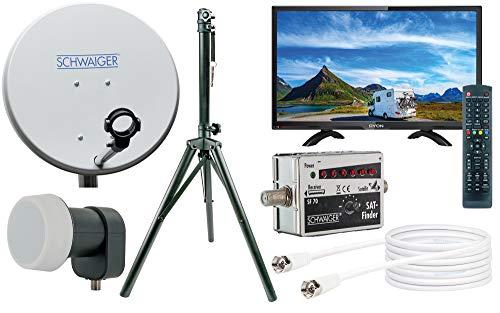 SCHWAIGER -TVSET- Camping-Sat-Anlage digital komplett / Camping Satelitenschüssel / TV 20' /...