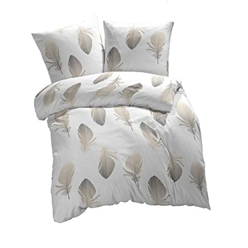 etérea Baumwolle Renforcé Bettwäsche - Federn - weich und angenehm auf der Haut, 3 teilig 200x200...
