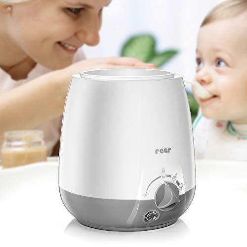 reer Babykostwärmer Simply Hot für Fläschchen und Gläschen, mit Warmhaltefunktion, Weiß/Grau