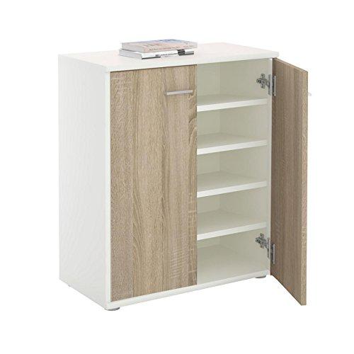 CARO-Möbel Schuhschrank LENNIS Schuhregal Schuhkommode mit 2 Türen und inklusive 4 Einlegeböden,...
