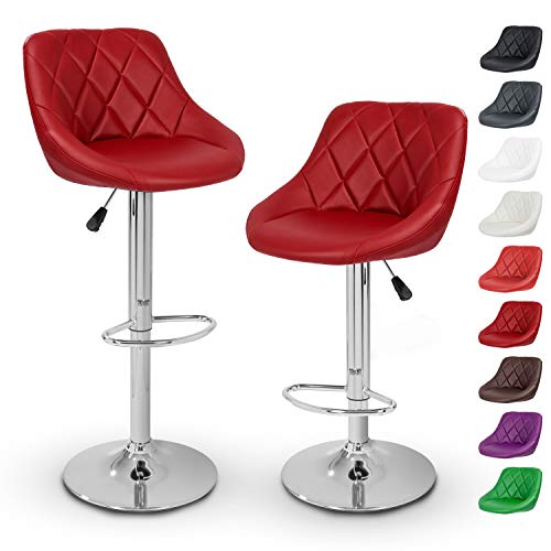 TRESKO 2er Set Barhocker Barstuhl 10 Farben wählbar, 360° frei drehbar, Sitzhöhenverstellung...