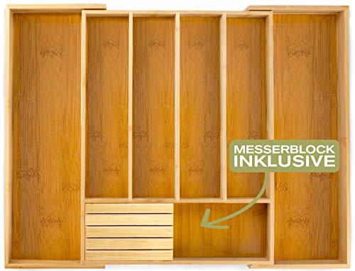 Momex Besteckkasten für Schubladen aus Bambus - Besteckeinsatz ausgezogen 55 x 45,5 x 5 cm (LxBxH)...