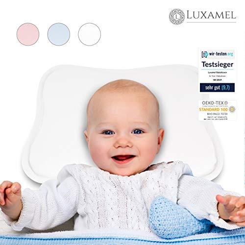 Luxamel | TESTSIEGER Orthopädisches Babykissen weiß | Ergonomisches gegen Plattkopf und Verformung...